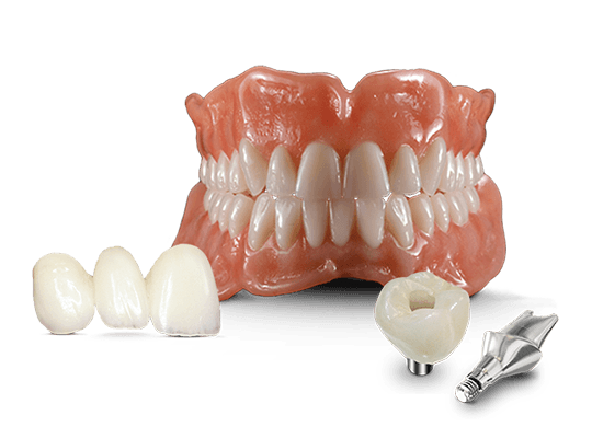 Full service lab products including dentures, fixed bridge restorations, and implants